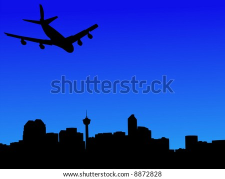 four engine plane arriving in calgary illustration JPG