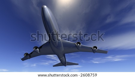 Four-engined commercial jet flying at low altitude