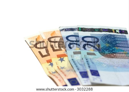 Four euro banknotes isolated on white background