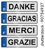 Four European union number plates spelling thank you / European number plates - stock photo