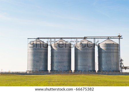 four farm grain silos for agriculture - stock photo