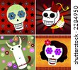 Four festive skulls on four different backgrounds of colorful stars and flowers - includes a man, woman, monkey and bull - great for Halloween or Dia de los Muertos - stock photo