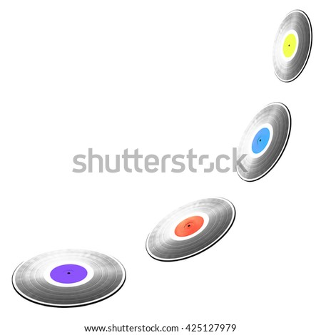 Four flying black long-play vinyl records with colorful labels isolated on white background