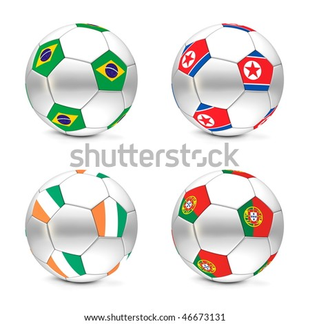 four footballs/soccer balls with the flags of Brasil, North Korea, Ivory Coast and Portugal - world championship South Africa 2010 group G