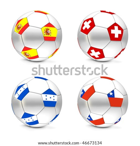 four footballs/soccer balls with the flags of Spain, Swiss, Honduras and Chile - world championship South Africa 2010 group H - stock photo