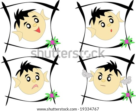 Four Framed Expressions - stock photo