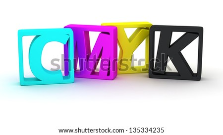 Four frames with letters in colours of CMYK palette