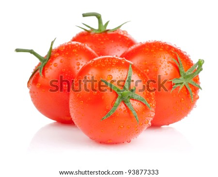 Four fresh juicy tomato with water droplets Isolated on white background - stock photo
