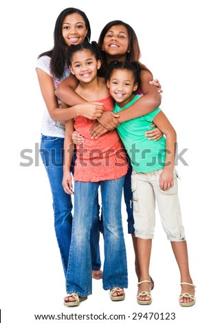 Four friends standing together and smiling isolated over white - stock photo
