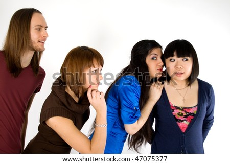 Four friends studio shot - stock photo