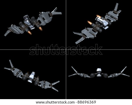 Four front views of a StarFighter in action with a black background - stock photo