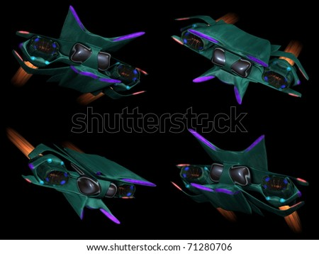 Four front views of an alien space ship on a black background - stock photo