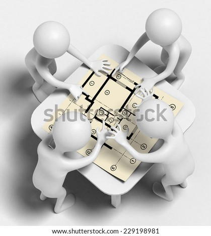 Four funny characters as architects talk over draft. They stand around a table on which is a construction drawings apartments. 3d render
