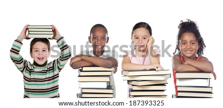 Four funny children with many books isolated on a white background