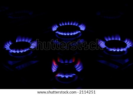 four gas rings - stock photo