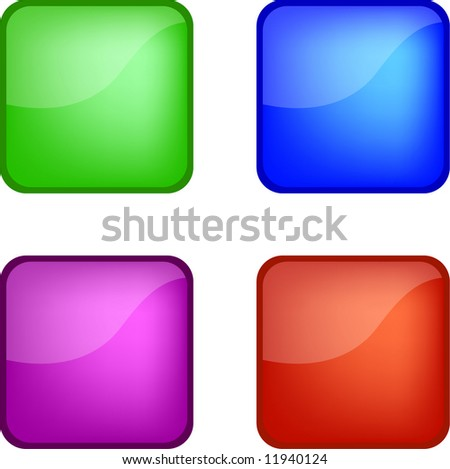Four gel web icon buttons (green, blue, purple, red) - stock photo