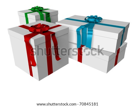 Four gift boxes isolated over white. Presents and surprises