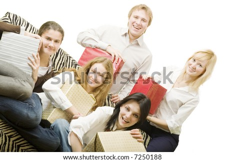 four girl and boy with gifts isolated