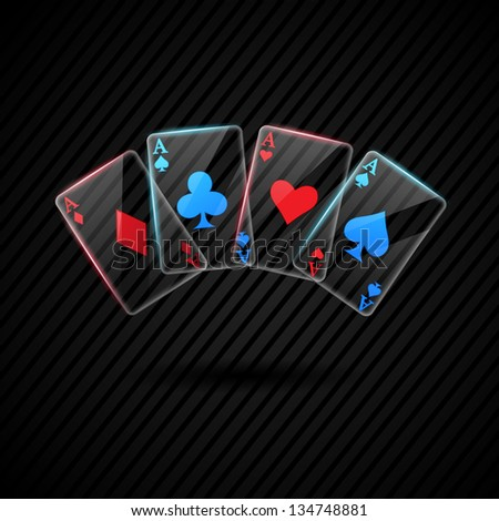 four Glass poker aces playing cards illustration transparent  rasterized/bitmap version - stock photo