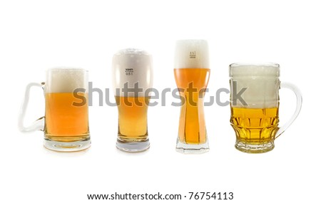four glasses of beer is isolated on a white background