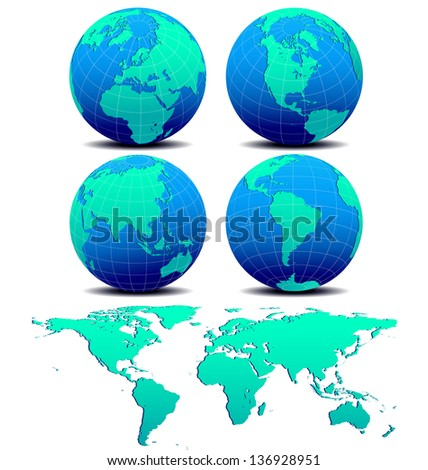 Four Global Worlds and World Map - SET TWO -World Globe on a white background - The base map is from Nasa and Hand drawn using the pen tool for maximum detail  - Raster Version - stock photo