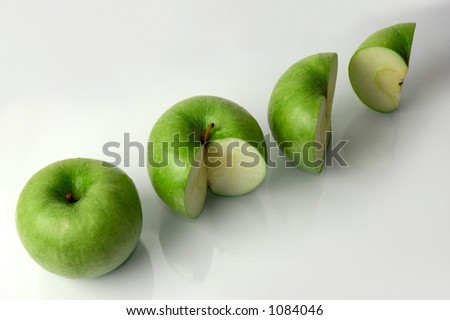 Four green apples percentage concept - stock photo