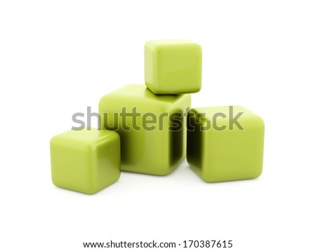 Four green cubes isolated - stock photo