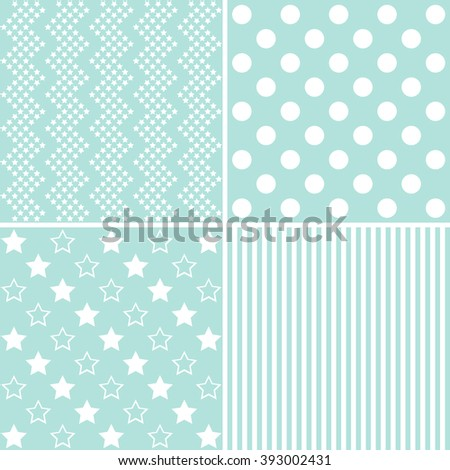 Four green patterns, Pattern can be used for wallpaper, pattern fills, web page,background,surface - stock photo