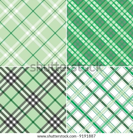 Four Green Plaid Patterns