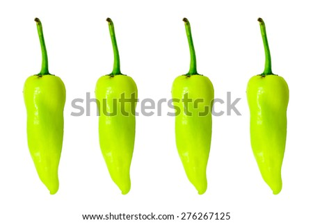 Four Green Sweet Bell Peppers - stock photo