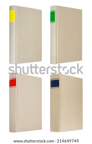 Four grey books with different color frames for title on the spine - stock photo
