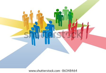 Four groups of people meet and connect at intersection of 4 arrows - stock photo