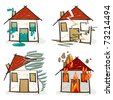 four hand drawn houses - set 6 - stock photo