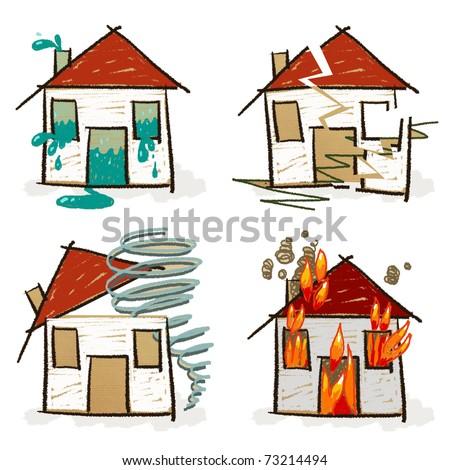four hand drawn houses - set 6 - stock photo
