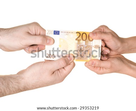 Four hands are fighting over 200 EUROS. Pulling in each direction. White background. - stock photo