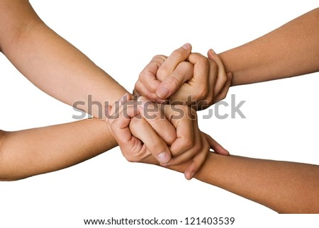 four hands hold each other, isolated - stock photo