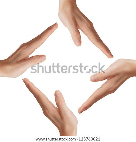 Four hands isolated on white