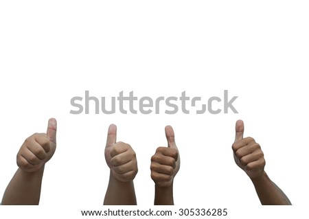 Four hands making like, recommend, success gesture with thumbs u - stock photo