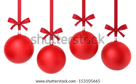 Four hanging christmas balls with nice bow. 3d illustration on white background