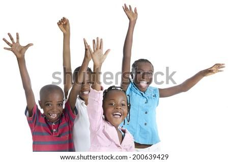 Four happy african cheering, Studio Shot - stock photo