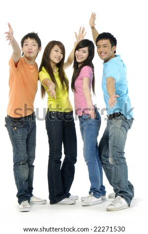 four happy Asia young people - stock photo