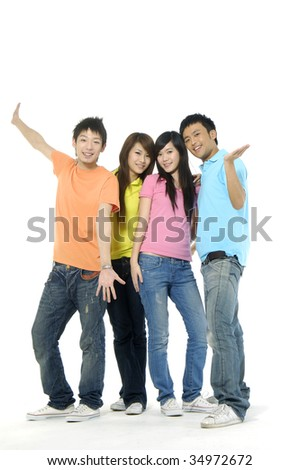 four happy asian young people - stock photo