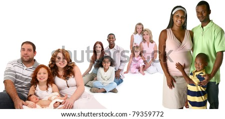 Four happy families of different ethnic backgrounds together over white background.