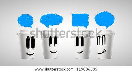 four happy paper cup of coffee with bubble talk - stock photo