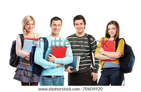 Four happy students posing with books isolated on white background - stock photo
