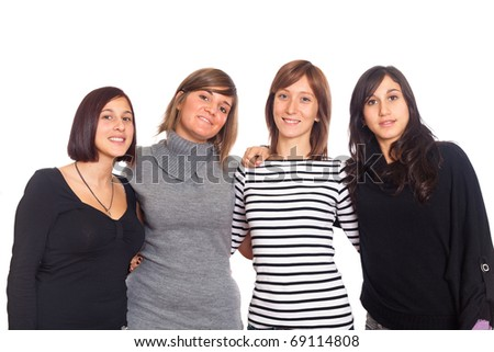 Four Happy Woman with Hands on Shoulders - stock photo