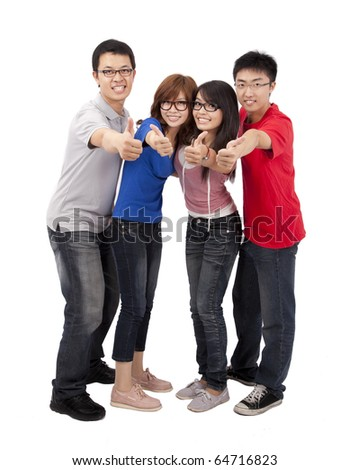 Four happy young student with thumb up - stock photo