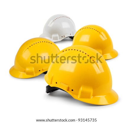 Four hard hat work team, protective safety helmets isolated - stock photo