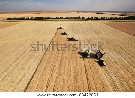 Four harvesters combing on a prairie landscape in formation - stock photo
