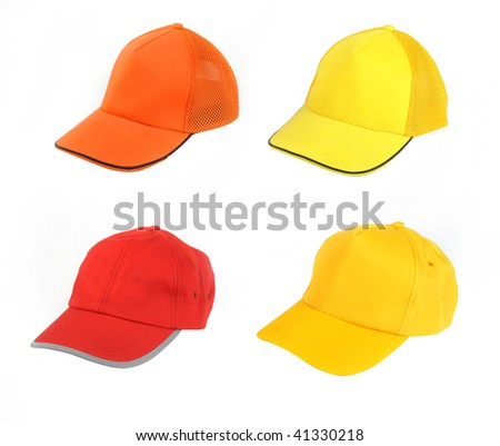 Four  hat isolated on white - stock photo